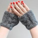 Grey/Gray Cable Knit Wrist ..