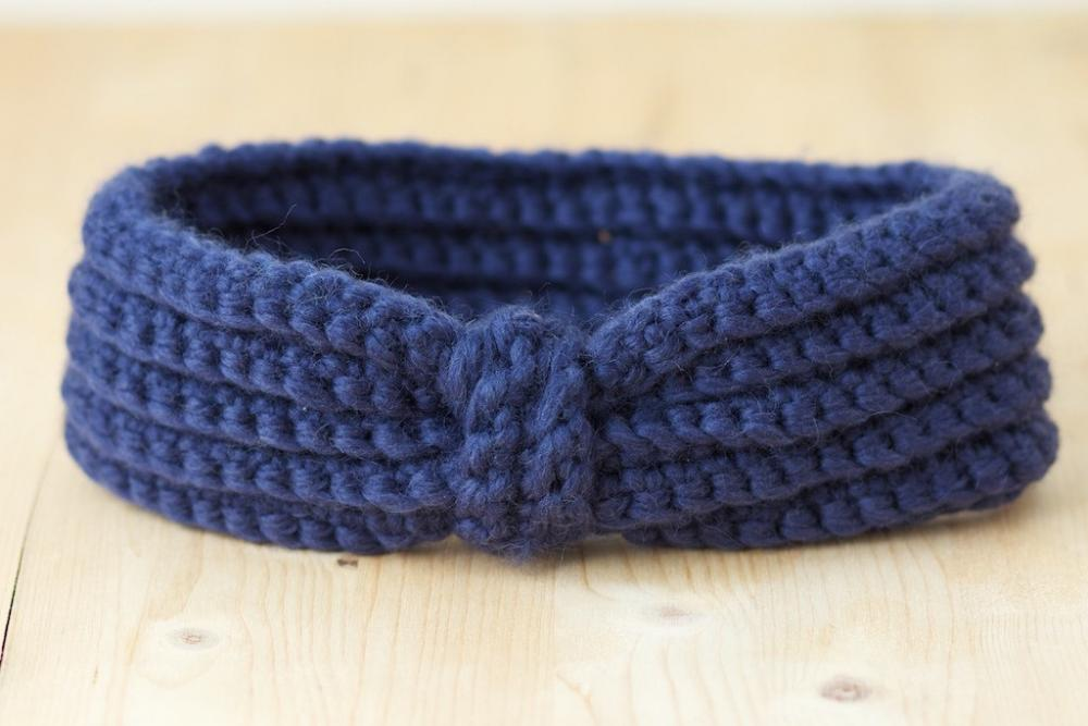 Navy Blue Crochet Headband - Ear warmers
