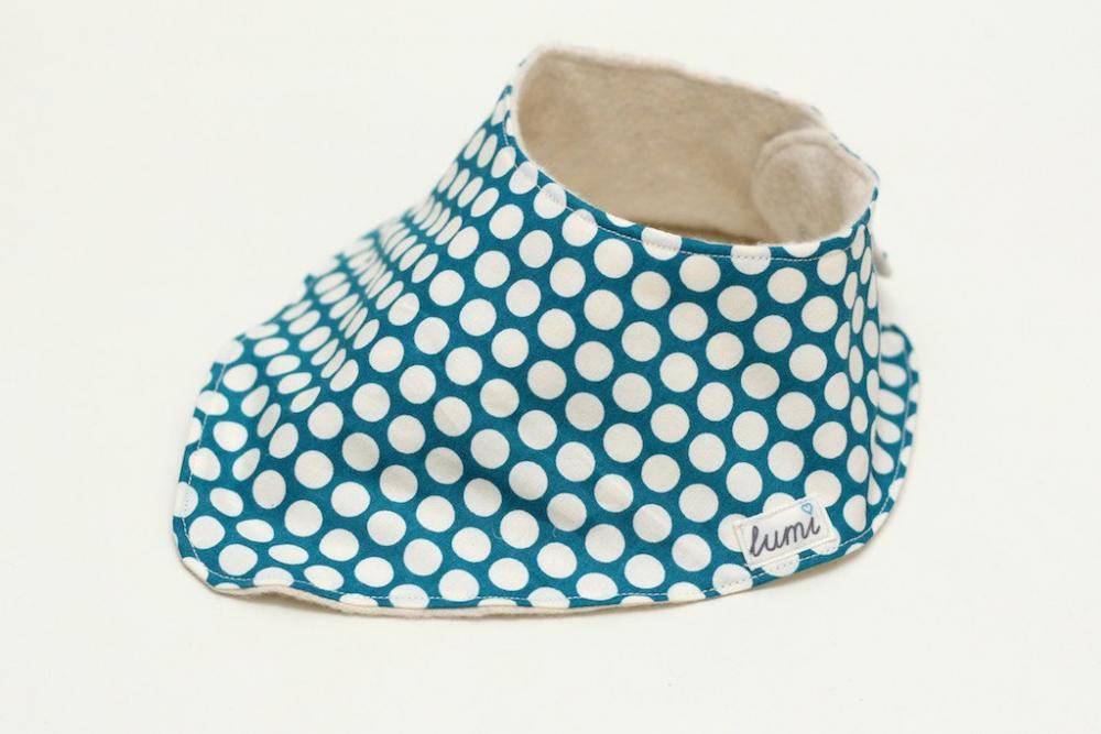Organic Cotton Dribble Bib - Teal and Cream Dotty Bandana Dribble Bib