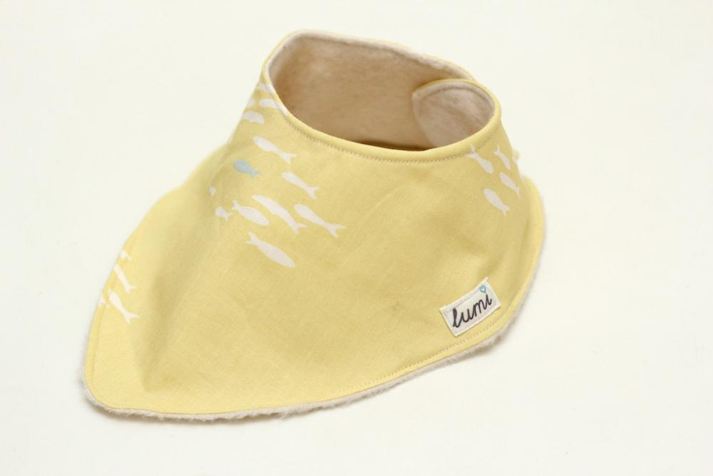 Organic Cotton Dribble Bib - Yellow and Grey Little Fishy Print Bandana Dribble Bib