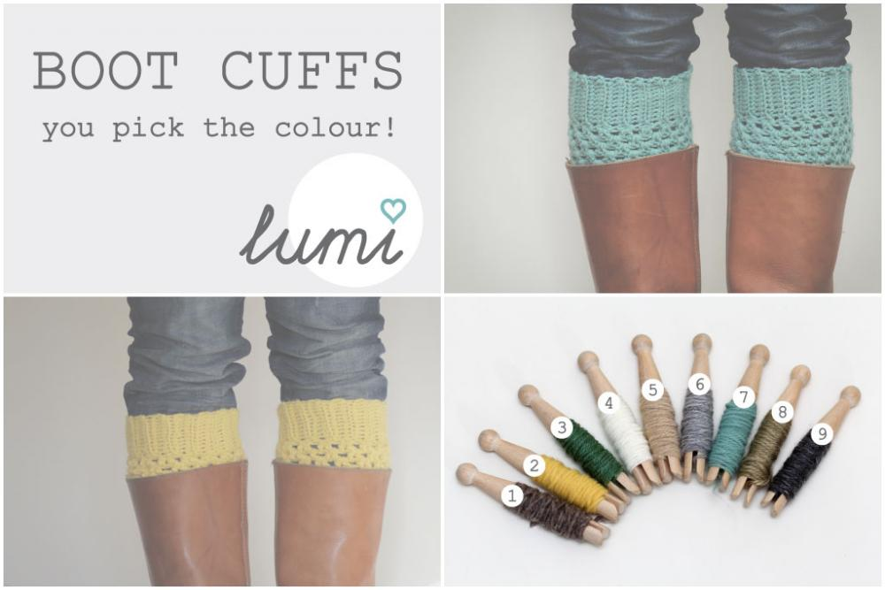 Crochet Boot Cuffs - you pick the colour