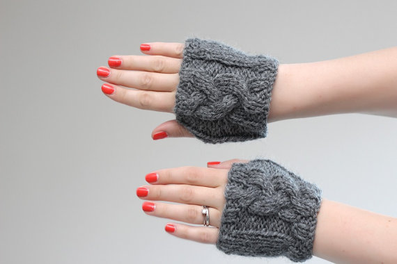 Grey/Gray Cable Knit Wrist Warmers - Cable Knitted Paws