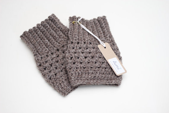 Crochet Boot Cuffs in Soft Brown - Boot Toppers