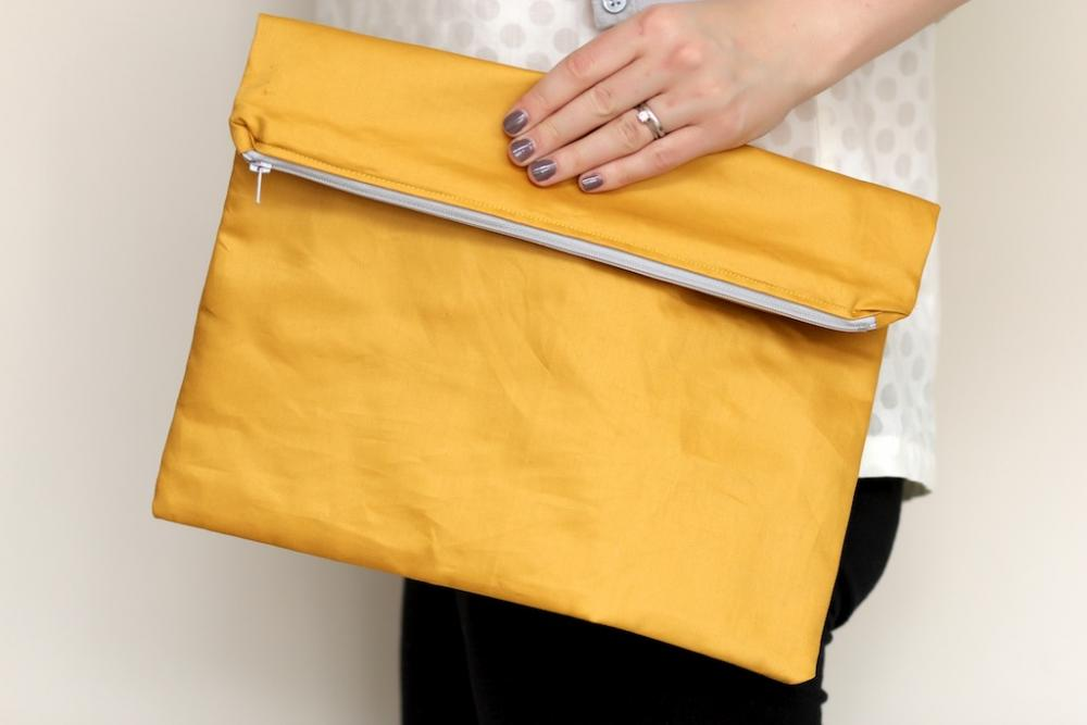 Fold over Zipper Clutch in Mustard Yellow with Slate Grey (gray) lining