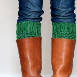 Crochet Boot Cuffs in Sage Green