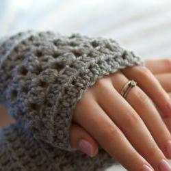 Grey Crochet Wrist Warmers