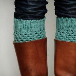 Crochet Boot Cuffs in Pastel Mint Green